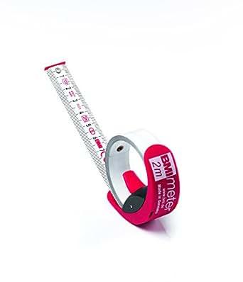 BMI 429241021 Ruban à mesurer avec frein/clip de ceinture, Rouge/blanc, 2 m x 16 mm