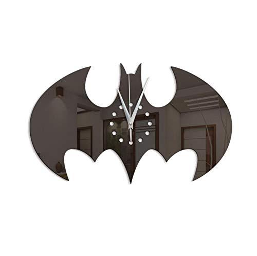 Orologio da Parete Specchio Creativo Orologio da Parete Batman Home Orologio Silenzioso Adesivo murale Decorativo Dimensioni: 21 cm * 35 cm (Nero)