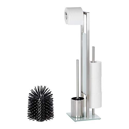 WENKO 21564100 Stand WC-Garnitur Rivalta Matt, WC-Bürstenhalter, Edelstahl rostfrei/Glas, 18 x 70 x 20 cm, Matt