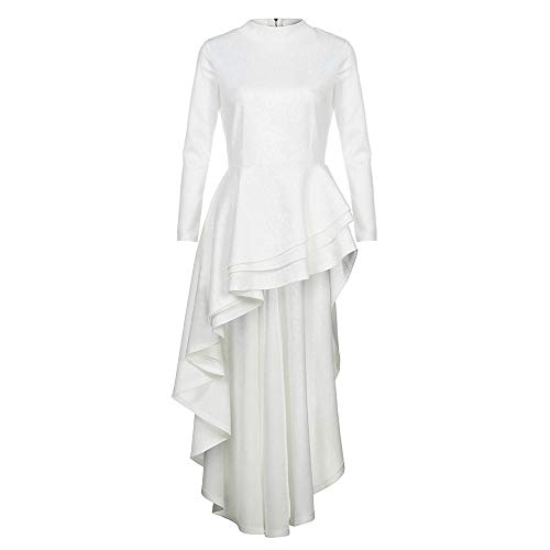IMJONO Rock Women Long Sleeve High Low Peplum Dress Bodycon Casual Party Club Dress(XX-Large,Weiß)