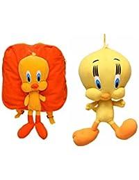 MGP Premium Orange Tweety Kids School Bag With Tweety Toy 30cm