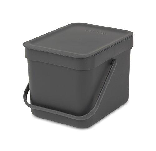 *Brabantia 109720 Abfallbehälter Sort & Go, 6 L Abfalleimer, Plastik, 24,8 x 18 x 17,9 cm, Grau*