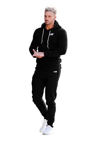 Aspire Wear Herren Schwarz Core Trainingsanzug Oberteil und Hosen Set - Fitness und Gym Trainingsanzug Aktiv Sport Stretch Slim Fit Top mit Hose (S)