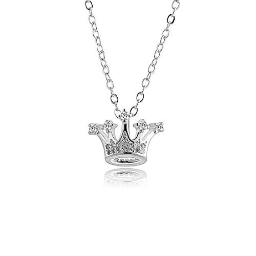 YuLinStyle Kronenform Zarte Halskette Weibliche koreanische Version Temperament Geschenk Einfacher Schmuck Platinfarbe Kaufen Sie EIN, erhalten Sie EIN kostenloses Zubehör Damenketten