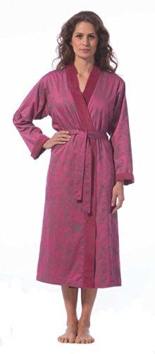 Morgenstern, Damen Bademantel lang, Größe L, Farbe fuchsia, Kimonokragen, bedruckt mit floralem Motiv, Baumwolle