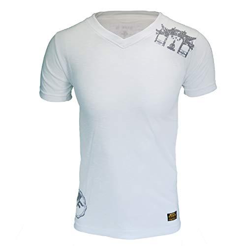 4Fighter Tissue V-Neck T-Shirt in Weiss mit dezentem grauen Tempel Buddha Logo-Druck, Größe:L