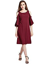 Rare Women Maroon Solid A-Line Dress