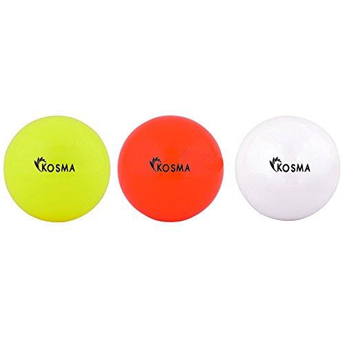 Kosma Satz mit 3 Hockey Ball | Outdoor Sport PVC-Praxis Ausbildung Kugeln (gelb, orange, weiß)