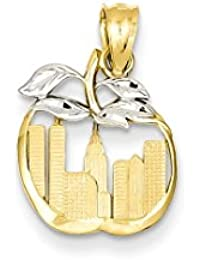 14k Cut Out New York Skyline In Apple Pendant Charm Necklace Travel Transportation Fine Jewelry For Women Gift Set