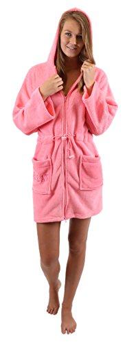 Betz modischer Kapuzen Bademantel für Damen praktischem Reißverschluss Morgenmantel Saunamantel Größen XS - L, Größe L - pink
