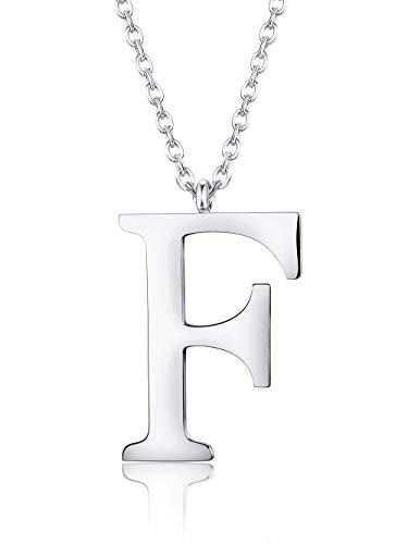 BE STEEL A-Z Initialen Name Kette für Frauen Damen Männer Herren Edelstahl Anhänger Halskette Kette Silber/Gold/Schwarz, Länge 56 cm (Initialen-halskette, L-silber)
