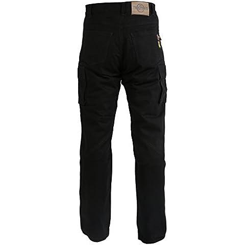 Vaqueros / pantalones cargo de motorista para hombre - Con 6 bolsillos y protector homologado por la EU - Kevlar - Negro - W34