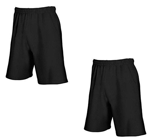 2er-Pack Fruit of The Loom Herren Kurze Sporthosen Jogginghosen Lightweight Shorts Schwarz