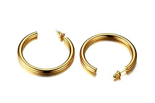 Onefeart Acero Inoxidable Aretes por Mujeres Gran anillo de oído Redondo Forma de Círculo Diseño 42x4MM Oro