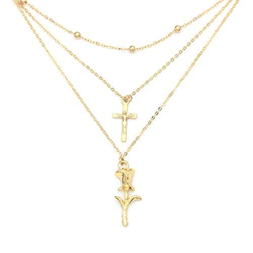 Cross Jesus Rose Three Layer Necklace 1278 -