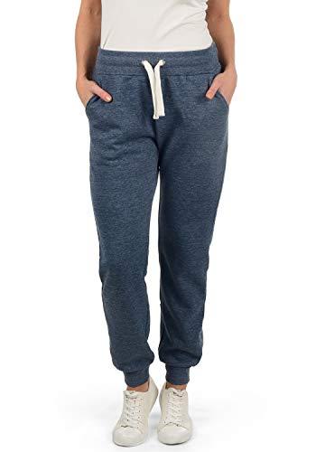 DESIRES Derby Damen Sweathose Sweatpants Relaxhose Mit Fleece-Innenseite Und Kordel Regular Fit, Größe:L, Farbe:Insignia Blue Melange (8991) -