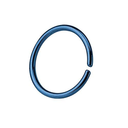 Paula & Fritz® Runder biegbarer UNIVERSAL Fake Hoop Ring 6mm lang 1mm dick blau Segmentring Septum Tragus Helix Cartilage Nasen-Piercing Ohrklemme Nostril Chirurgenstahl Titan (Hoop Nose Ring)