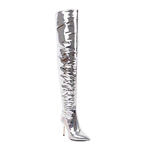 Damen Sexy Über dem Knie Oberschenkel Lange Stiefel Stiletto High Heel Spitze Künstliche PU Silber Herbst Winter Abend Nachtclub , Silver , EUR 42/ UK 8.5 (High Patent-plattform Stiefel Knie)