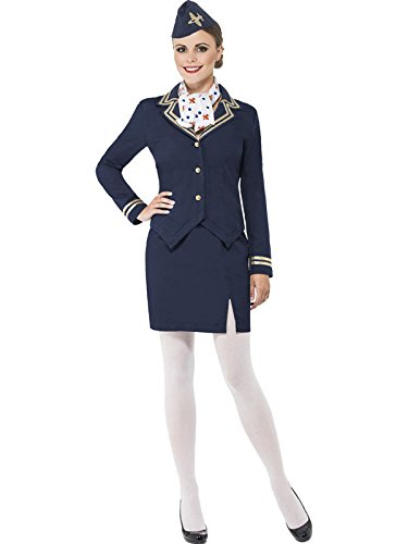 Stewardess Damenkostüm blau-gold M