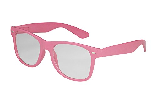 X-CRUZE® 1-010 X06 Nerd Brille ohne Stärke Vintage Retro Style Stil Klarglas Hornbrille Modebrille Unisex Herren Damen Männer Frauen Streberbrille rosa