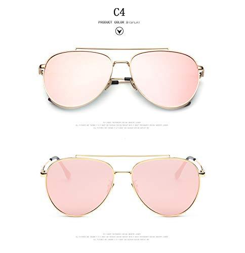 ZJWZ Europäische und amerikanische Retro-Sonnenbrillen Metal Frog Mirror Damen Sonnenbrille,C4
