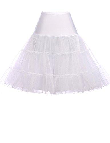 Fashion Damen 50s Retro Unterrock Petticoat für Kleid Ballkleider Abendkleider Brautkleid weiss 0X...