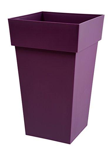 Pot Toscane carré 65 violet avec soucoupe