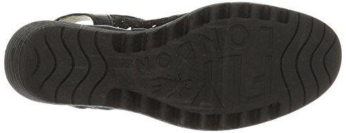 FLY London Yuti734, Sandales Compensées Femme Noir (Black/Black 000)