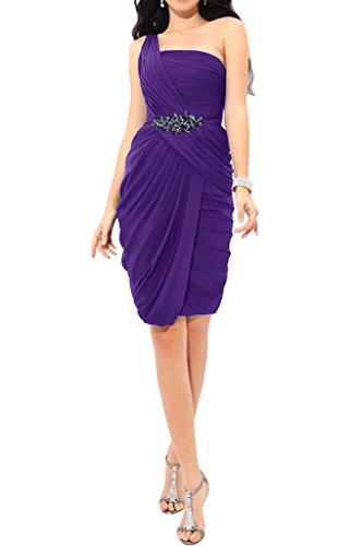 La_Marie Braut Einfach Chiffon Geraft Abendkleider Cocktailkleider Promkleider Abschlussballkleider Mini Schmaler Lila