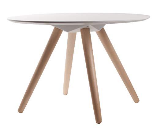 Zuiver 4001802 Bee mesa redonda de madera de densidad media acabado brillante en la parte superior y con patas de madera de 75 x 50 cm blanco