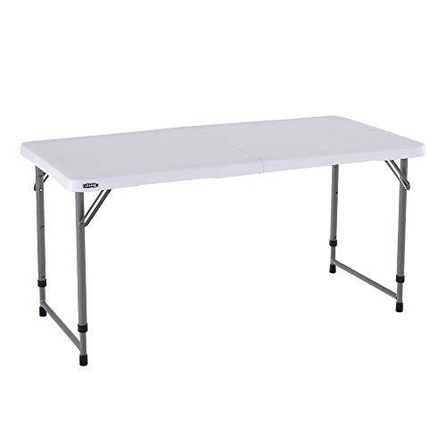 Lifetime - Mesa Plegable Multifuncional con Altura Ajustable, 122x61x 60/74/90 cm, LFT 122 Folding, Blanco