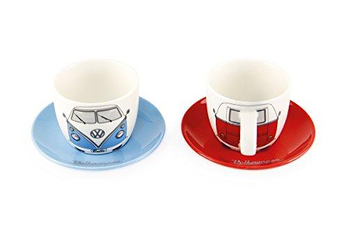 Brisa VW Collection VW T1 Bus Espresso Tassen 2er Set 100ml - Front/Rot & Blau Espresso-tasse Set