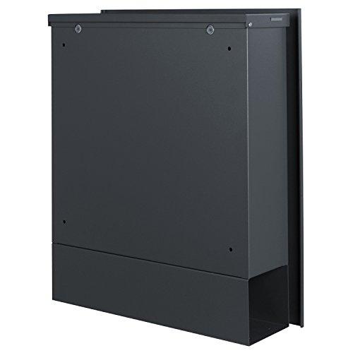 MOCAVI Box 110 Design-Briefkasten mit Zeitungsfach anthrazit-grau (RAL 7016) Wandbriefkasten, Schloss rechts, groß, Aufputzbriefkasten dunkelgrau, Postkasten anthrazitgrau modern mit Zeitungsrolle - 7