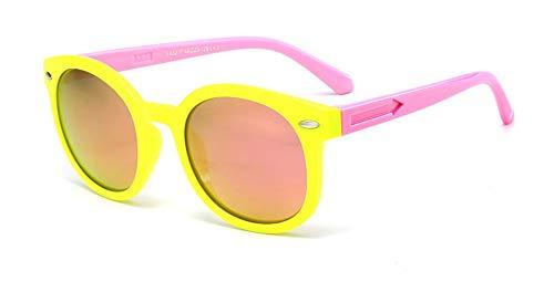 Sonnenbrille Vintage Runde Sunglasse Für Kinder, Schüler, Outdoor Brille Weiche Sicherheitsrahmen Hd Polarized Sonnenbrillen Mit Case Pink Gelb