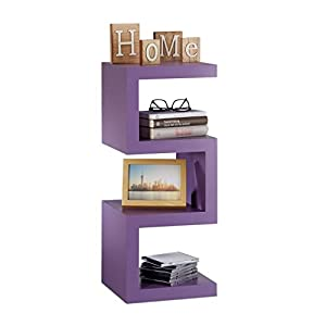Relaxdays Retro Free Standing Zigzag Shelf, Decorative CD Storage, Narrow Wooden Bookcase, HxWxD 75x30x30 cm, Purple