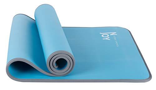 NJoy NBR Yogamatte/Gymnastikmatte/Fitnessmatte/Sportmatte mit Tragegurt in 183 x 61 x 1 cm Dicke | Matte für u.a. Pilates | Nachhaltig, Schadstofffrei & rutschfest in Blau - Hellblau
