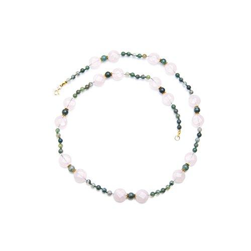 hi-perle-Collana lungo in pietra naturale: Agata schiuma e quarzo rosa sfaccettato