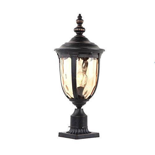 Xungel Im freien wasserdichte Säule Spalte Lampe Europäischen Outdoor Landschaft Garten Wandleuchten Rostfrei Aluminium Glasschirm Post Licht Pavillon Zaun Desktop Leuchte (Schwarz) ( Size : L ) -