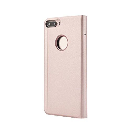 Ouneed® Für iPhone 8 plus 5.5 Zoll Hülle , Luxus-Spiegel Clear View Flip Leder Stand Case Cover für iPhone 8 plus 5.5 Zoll (Schwarz) Roségold