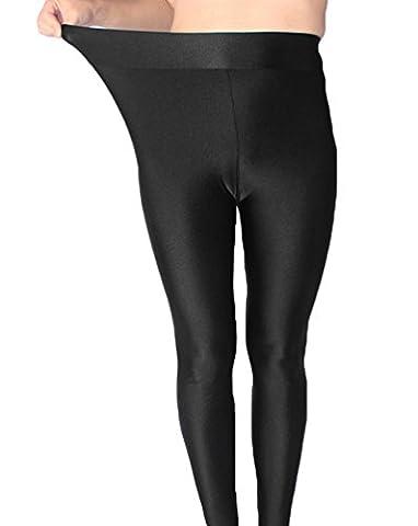 Yiiquan Damen Übergröße Leggings Glänzend High Waist Federnd Hose Schwarz CN 3XL