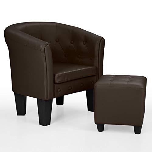 HomeLux Chesterfield Sessel und Sitzhocker, aus Kunstleder und Holz, mit Rautenmuster, Farbwahl, Lounge Sessel, Clubsessel, Armsessel, Cocktailsessel, Wohnzimmer Möbel, Design-Polstermöbel, BRAUN
