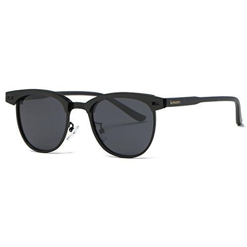 Kimorn Polarisierte Sonnenbrille Unisex Retro Halb-Randlos Metall Rahmen Gläser K0558 (Schwarz)