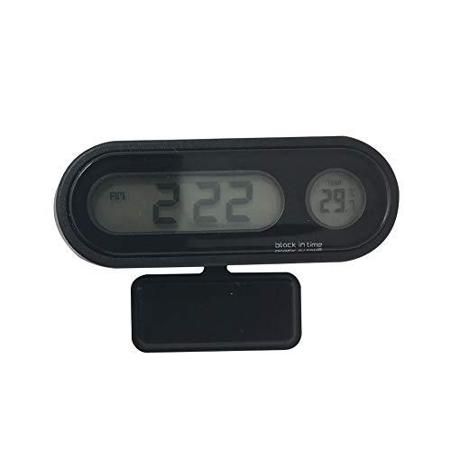 TLfyajJ 2-in-1-Auto-Uhr Thermometer LED Hintergrundbeleuchtung digitales Temperaturmesswerkzeug -unterstützen die 12h / 24h-Anzeigemodusumwandlung. Schwarz (1 20 Licht Essen)