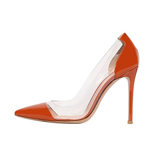 Schuhe Kolnoo Transparent Lack Pumps Orange Bequeme Stilettos 10cm Damenschuhe 0SP0xw4C