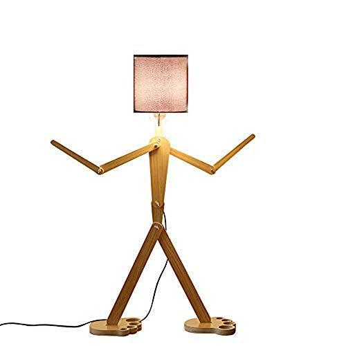 DIY Holz Original-1.1m Stehleuchte Raum Stehleuchte Variety Charakter-Modellierung Shade Leinen Weiß/Schwarz Moderne Kühler für Schlafzimmer Wohnzimmer (Schwarz) -