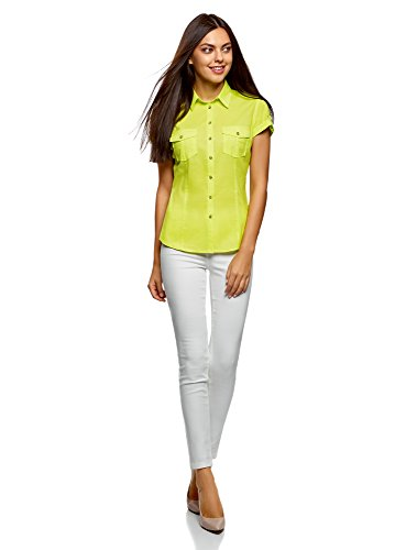 oodji Ultra Damen Kurzarm-Bluse Basic Grün (6A00N)