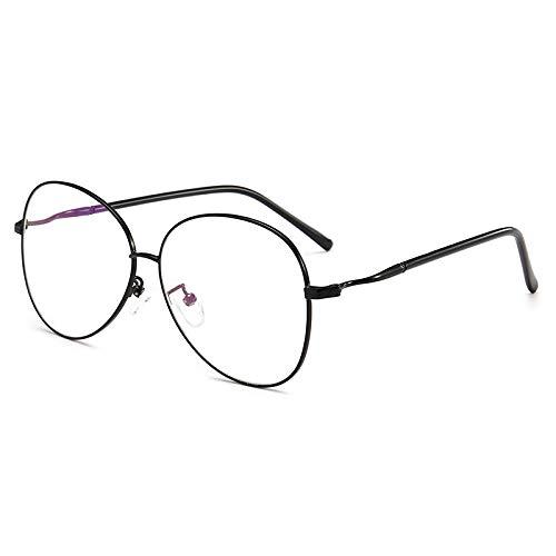 Yangjing-hl Retro literarische frische runde Golddraht feines Metall Brillengestell weibliche Myopie Brillengestell Männer Flache Brillen Flut Black Box