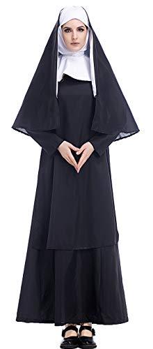Kostüm Muster Nonne - Bslingerie Halloween Nonnen Kleid Kostüm Set (Nonnen Kleid, L)