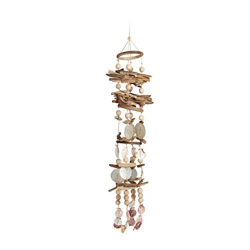 Relaxdays Windspiel mit Muscheln, maritimes Holz Klangspiel für Balkon, Garten-Deko, Capizmuschel Mobile, 107 cm, natur