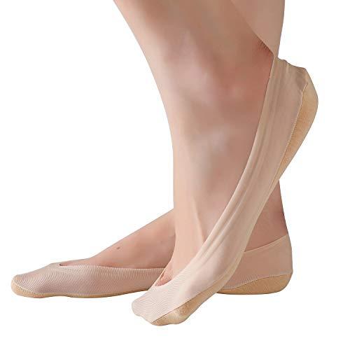 RIIQIICHY Damen Baumwolle Socken kurze unsichtbare Söckchen atmungsaktiv Beige Schwarz 4 Pack 6 Paar Socken set mit Rutschfest Silikon für Alltag und Pumps - Sechs Söckchen